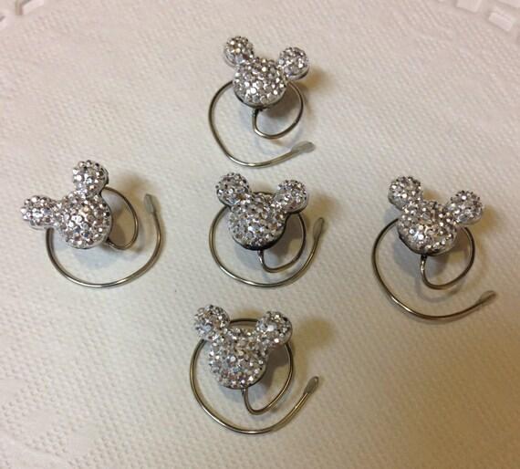 MOUSE EARS Hair Swirls for Wedding in Dazzling Silvertone Acrylic