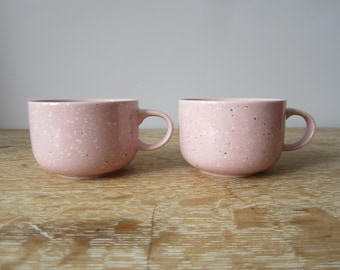 Set of Two Pink Round Mugs with White and Blue Flecks