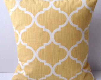 Yellow Pillow Cover Lattice Decorative Pillow Throw Accent Pillow Cushion