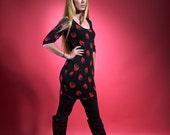 "dress sixties VINTAGE ""STRAWBERRIES"" dress retro, dress vintage, black dress"