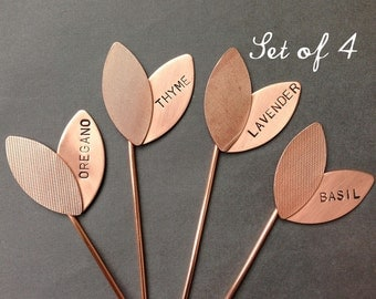 Large Sprout Herb Markers - Custom Set of 4 Garden Markers