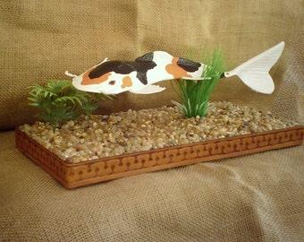 "Handmade Leather ART  ""KOI"" Swimming in Pond"