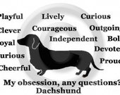 Dachshund Smooth Haired Dachsie Doxie Dog - My Obsession, Any Questions T-Shirt / Passion Obsessed Crazy Love