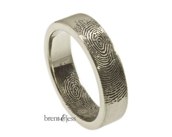 Fingerprint Wedding Ring with Fingertip Prints on the Outside and Inside in Sterling Silver