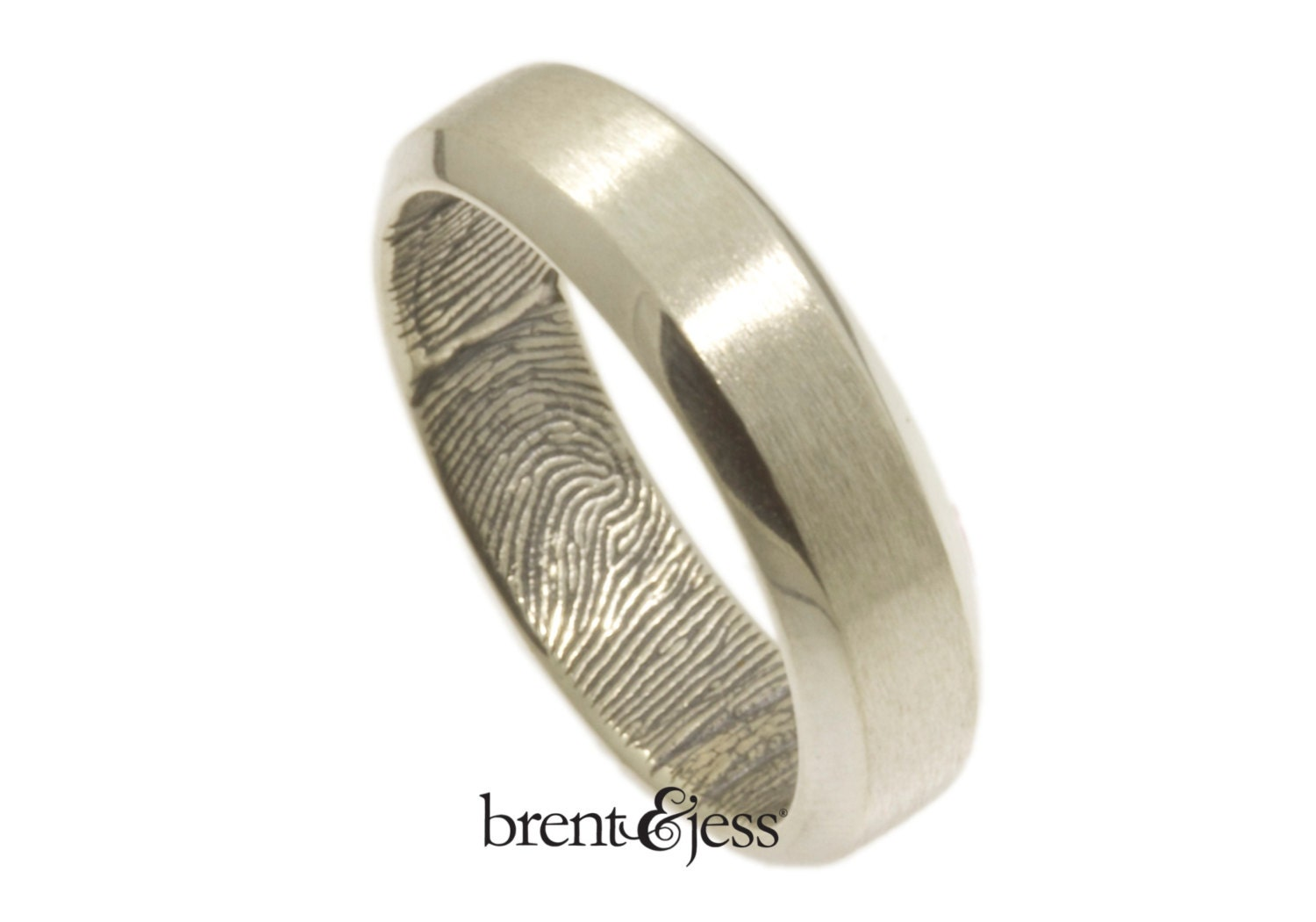 Beveled Edge Handcrafted Fingerprint Wedding Band With