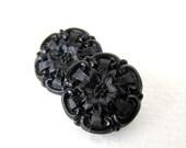 Vintage Glass Czech Flower Buttons Black Sewing Shank 18mm but0219 (4)