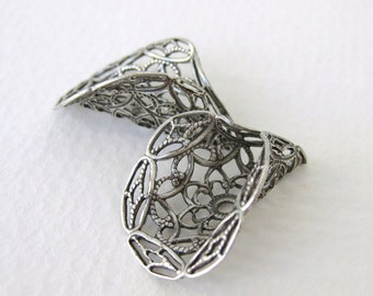 Antiqued Silver Ox Filigree Bead Cap Calla Lily Flower Plated Cone Vintage Style 27mm bcp0033 (2)