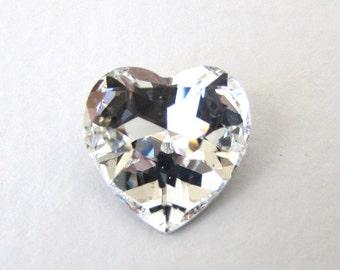 Vintage Swarovski Crystal Rhinestone Clear Heart Glass Jewel 14mm swa0553 (2)