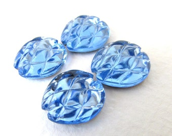 Vintage Flower Cabochon Light Sapphire Glass Foiled 14mm gcb1051 (4)