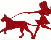 Great Dane and Pin Up Silhouette, Red Glitter Vinyl Decal