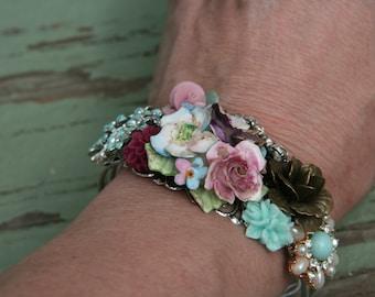Flower Bracelet, pastel Floral Cuff Bracelet, Vintage Inspired Wedding Jewelry