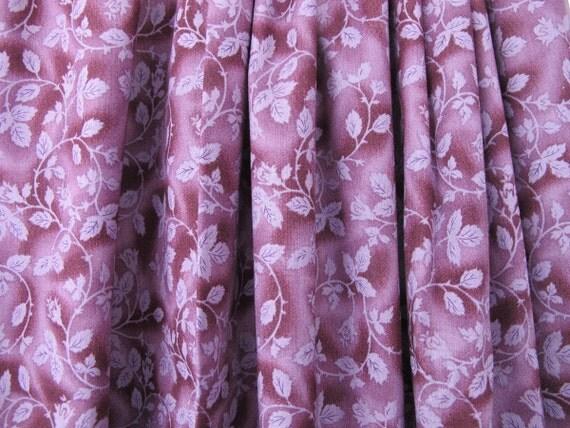 Plum Aubergine Leaf Print Valance Vintage Drapes By