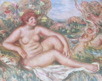 """Print from 1944 - """"Baigneuse Assise"""" by Renoir - Les Editions Du Chene"""