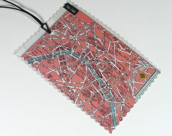 Travel, Luggage Tags, Paris map, recycled, France, No. 5