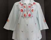 reserved-Vintage 70's Embroidered Top Blouse Shirt-Boho Hippie-Bell Sleeves-Medium