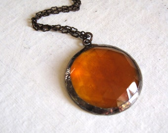Amber Glass Faceted Necklace Geometric Jewelry