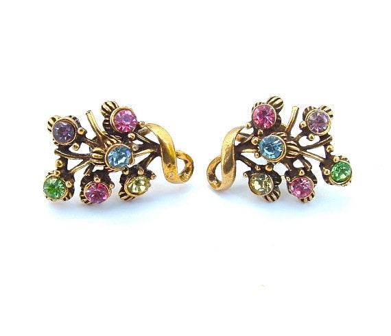 CORO Designer Vintage Rhinestone Earrings Rainbow Rhinestone Costume Jewelry
