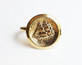 Gold Ship Ring, Ship Ring, Gold Coin Ring, Coin Ring, Nautical Ring