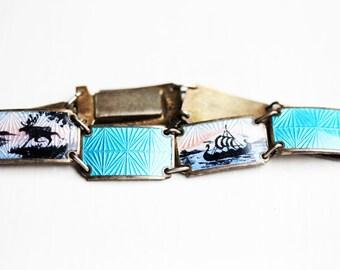 Sterling Silver Blue Enamel David Andersen Bracelet