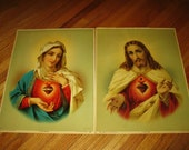 "On Hold -  Gorgeous Large 17"" x 13"" Inches Vintage Twin Hearts Lithograph Prints Sacred Heart Of JESUS Immaculate Heart Of MARY"