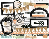 Halloween Embellishments - Instant Download-High Res-Digital-Spooky Chic Elements