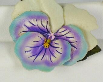 Vintage Colorful Wood Flower Pin