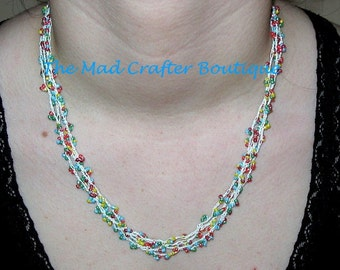 Delicate Crocheted Necklace in 4 Strands of Colorful Seed Beads   !!CLEARANCE SALE!!