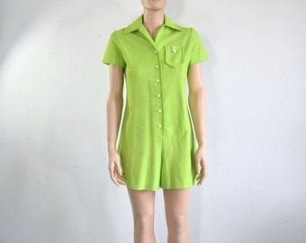 90s does 60s Romper Playsuit Chartreuse Preppy - small to medium