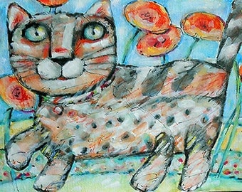 Original illustration-painting  Dandelions cat on canvas board OOAK from miliaart