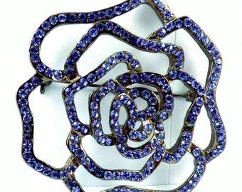 Purple Rhinestone Rose Brooch