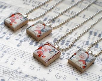 Kewpie Scrabble Necklace, Vintage-Look Handmade Scrabble Tile Art Pendant, Wood Pendant, Kewpie Postage Stamp Art, Tiny Jewelry