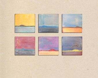 rustic worldwide sunrise - 36 x 24, textured acrylic abstract landscape art painting on canvas