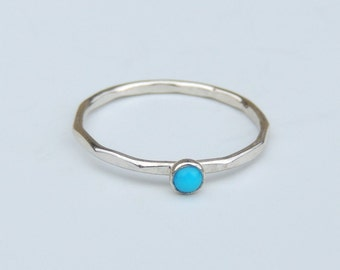 Small Turquoise Ring Sterling Silver Stacking Ring