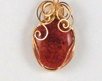 Red Orange Apple Coral pendant. 14k Gold Filled wire wrap. P109