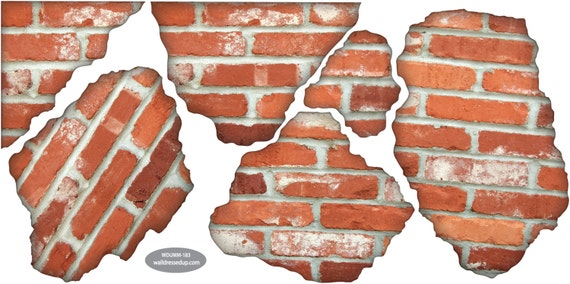 Wall Decals Faux Bricks Breakaway Removable U0026 Reusable Brick Peel And Stick  Fabric Wall Stickers Part 52