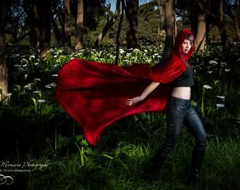 Little Red Riding Hood Red Velvet Hooded Cloak ~ Handmade, Soft, Stretch, Cape