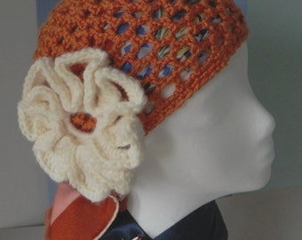 1970's Style Orange Crocheted Cloche with White Crocheted Flower