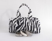 Satchel small handbag purse zebra print zip closure lined internal zipped pocket handmade