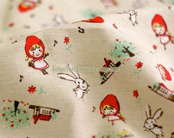 Sweet Little Red Riding Hood and Bunny In The Village- Linen Cotton Blended Fabric (1/2 Yard)