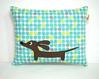 Doxie Dachshund Dog Pillow - Doxie in the Retro Modern Garden