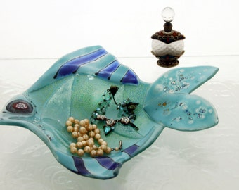 Turquoise fish Bowl  - Multipurpose fused Glass art -  Jewelry holder  - candle holder - Spoon Rest.
