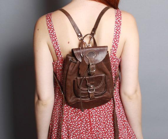 90s Mini Leather Backpack Dark Brown Backpack Purse