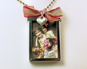 Whimsical Mother - Daugther Window Necklace - Locket Necklace - 21 1/2 Inch Chain