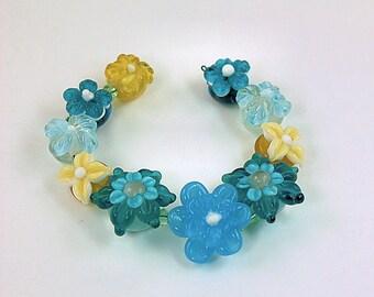 Floral Lampwork Beads Set - 10 Detailed Flower Bead