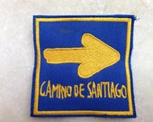 Camino de Santiago patch with arrow sign , Santiago De Compostela pilgrimage patch,back packers camino patch
