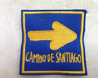 Camino de Santiago patch with arrow sign , Santiago De Compostela pilgrimage patch,back packers camino patch
