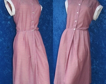 Vintage 50s 1950s Plaid House Day Shift Cotton Summer Dress Rockabilly