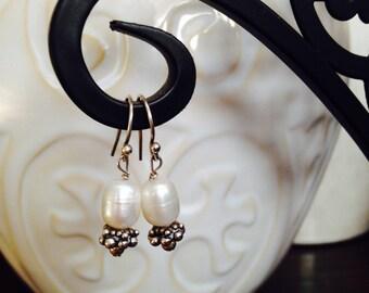 Modern Freshwater Pearl Dangle Earrings