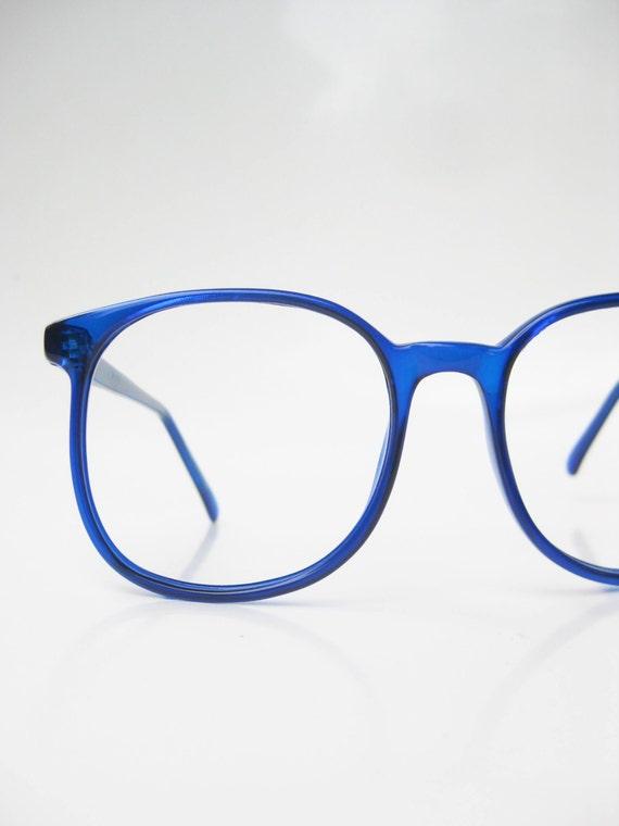 Vintage Oversized Eyeglasses 1970s Round Sapphire Blue Sea