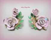 Vintage Pink Rose Earrings Pearls Aurora Borealis Rhinestones Green Enamel Leaves